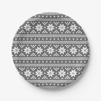 Charcoal Gray Fair Isle Christmas Sweater Pattern Paper Plate