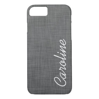 Charcoal Gray Faux Linen Texture Custom Monogram iPhone 8/7 Case