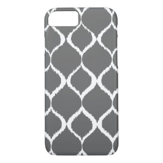 Charcoal Gray Geometric Ikat Tribal Print Pattern iPhone 7 Case