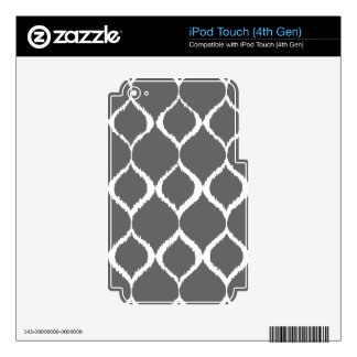 Charcoal Gray Geometric Ikat Tribal Print Pattern iPod Touch 4G Skin