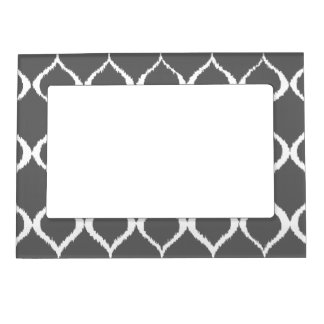 Charcoal Gray Geometric Ikat Tribal Print Pattern Magnetic Picture Frame