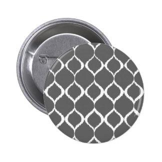 Charcoal Gray Geometric Ikat Tribal Print Pattern Pinback Button