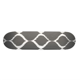 Charcoal Gray Geometric Ikat Tribal Print Pattern Skateboard