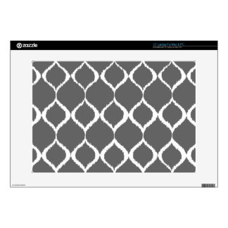 Charcoal Gray Geometric Ikat Tribal Print Pattern Skins For Laptops