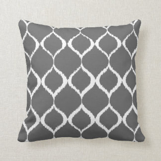 Charcoal Gray Geometric Ikat Tribal Print Pattern Throw Pillow