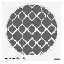 Charcoal Gray Geometric Ikat Tribal Print Pattern Wall Sticker