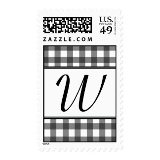 Charcoal Gray Gingham monogrammed Postage Stamp