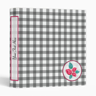 Charcoal Gray Gingham with Pink Rosebuds Binder