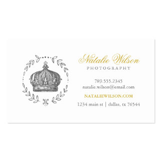 Charcoal Gray & Gold Elegant Vintage Crown Double-Sided Standard Business Cards (Pack Of 100)