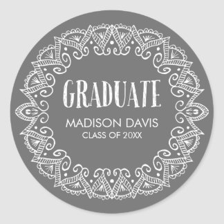 Charcoal Gray Gypsy Graduation Stickers