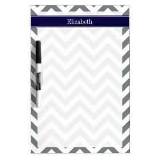 Charcoal Gray Lg Chevron Navy Blue Name Monogram Dry-Erase Board