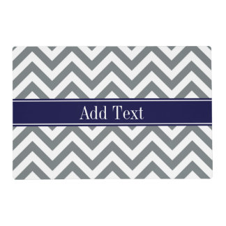 Charcoal Gray Lg Chevron Navy Blue Name Monogram Laminated Placemat