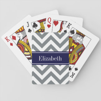 Charcoal Gray Lg Chevron Navy Blue Name Monogram Playing Cards