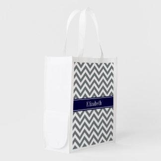 Charcoal Gray Lg Chevron Navy Blue Name Monogram Reusable Grocery Bag