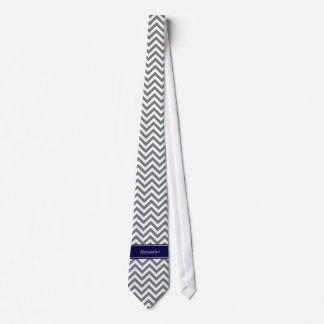 Charcoal Gray Lg Chevron Navy Blue Name Monogram Tie