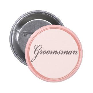 Charcoal gray light pink Groomsman button