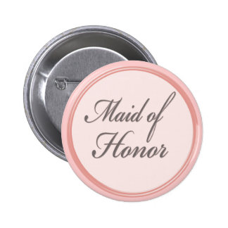Charcoal gray light pink Maid of Honor button