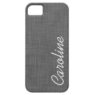 Charcoal Gray Linen Texture Custom Monogram iPhone SE/5/5s Case