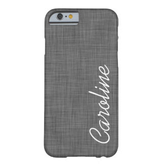 Charcoal Gray Linen Texture Custom Monogram iPhone 6 Case