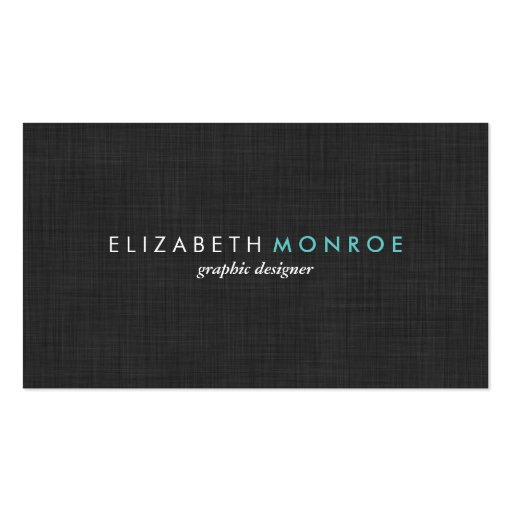 Charcoal Gray Linen Texture Sleek Simple Business Card