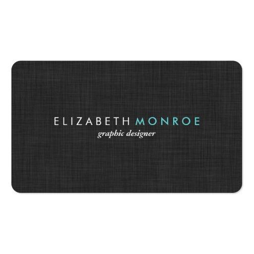 Charcoal Gray Linen Texture Sleek Simple Business Card