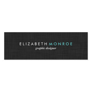 Charcoal Gray Linen Texture Sleek Simple Double-Sided Mini Business Cards (Pack Of 20)