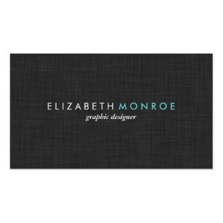 Charcoal Gray Linen Texture Sleek Simple Double-Sided Standard Business Cards (Pack Of 100)