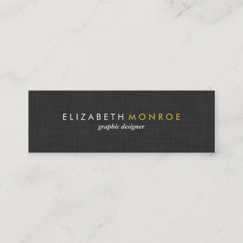 Charcoal Gray Linen Texture Sleek Simple Mini Business Card
