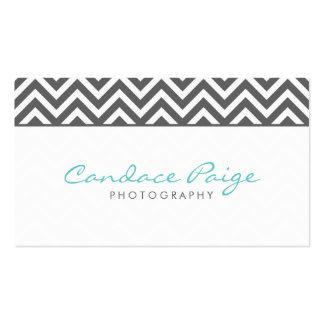 Charcoal Gray Modern Chevron Stripes Business Card