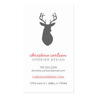 Charcoal Gray Modern Deer & Chevron Stripes Business Card