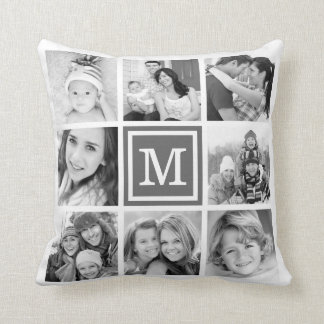 Charcoal Gray Monogram Instagram Photo Collage Throw Pillow