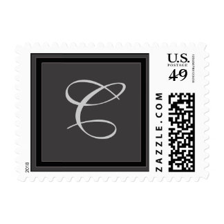 Charcoal gray monogram stamp - LETTER C