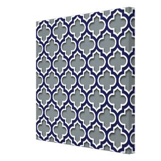 Charcoal Gray Navy White Moroccan Quatrefoil #5DS Canvas Print