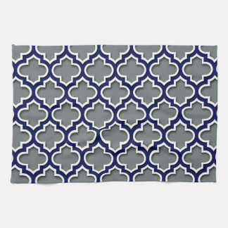 Charcoal Gray Navy White Moroccan Quatrefoil #5DS Hand Towel
