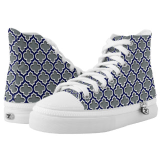 Charcoal Gray Navy White Moroccan Quatrefoil #5DS High-Top Sneakers