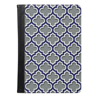 Charcoal Gray Navy White Moroccan Quatrefoil #5DS iPad Air Case