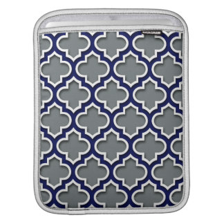 Charcoal Gray Navy White Moroccan Quatrefoil #5DS iPad Sleeve