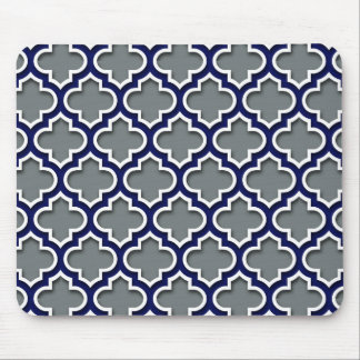 Charcoal Gray Navy White Moroccan Quatrefoil #5DS Mouse Pad