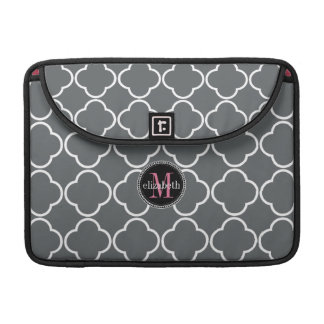 Charcoal Gray  | Pink Quatrefoil Clover Monogram MacBook Pro Sleeve
