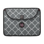 Charcoal Gray  | Pink Quatrefoil Clover Monogram Sleeves For MacBook Pro