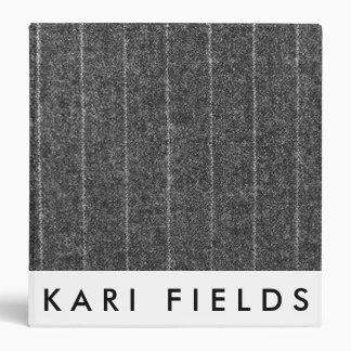 Charcoal Gray Pinstripe Tweed Slate Black Fabric Binder