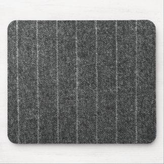 Charcoal Gray Pinstripe Tweed Slate Black Fabric Mouse Pad