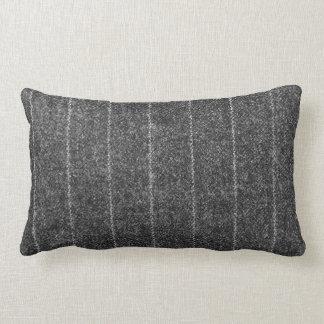 Charcoal Gray Pinstripe Tweed Slate Black Fabric Throw Pillow