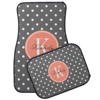 Charcoal Gray Polka Dot with Coral Monogram Car Floor Mat