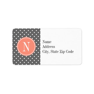 Charcoal Gray Polka Dot with Coral Monogram Personalized Address Label