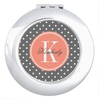 Charcoal Gray Polka Dot with Coral Monogram Vanity Mirror