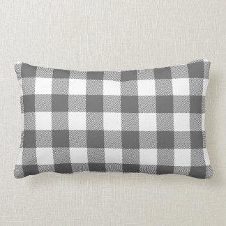 Charcoal Gray Preppy Buffalo Check Plaid Lumbar Pillow