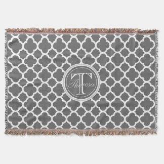 Charcoal Gray Quatrefoil Pattern Name Monogram Throw Blanket