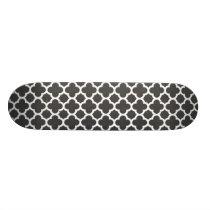 Charcoal Gray Quatrefoil Trellis Pattern Skateboard
