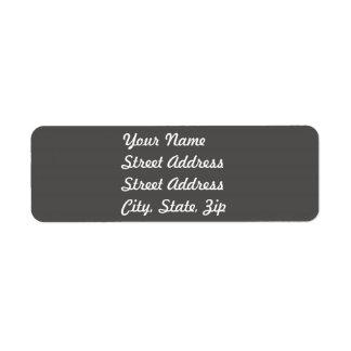Charcoal Gray Return Address Sticker Return Address Label